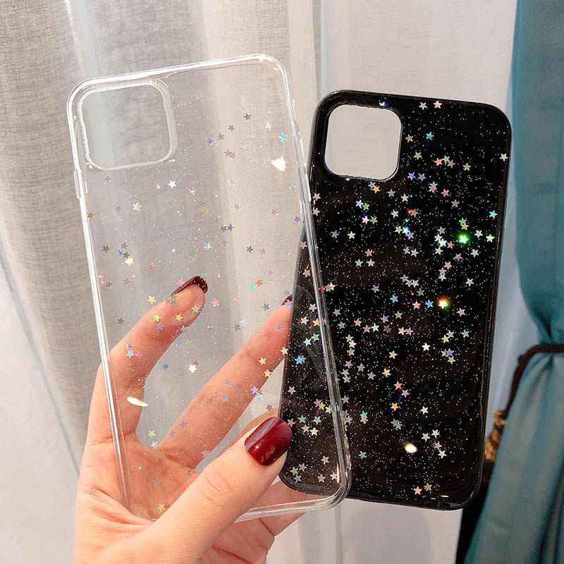 Moskado Blizgučiai Star Aišku, Telefono Dangtelį iPhone 11 X XR XS Max Minkštos TPU Atgal Case For iPhone 6S 7 8 7Plus 5S Epoksidinės Bling Dangtis